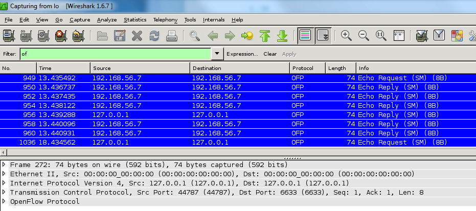 OpenFlow Wireshark Windows