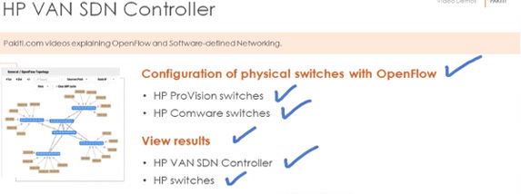 OpenFlow switch configuration - HP Procurve and Comware with the HP VAN SDN controller