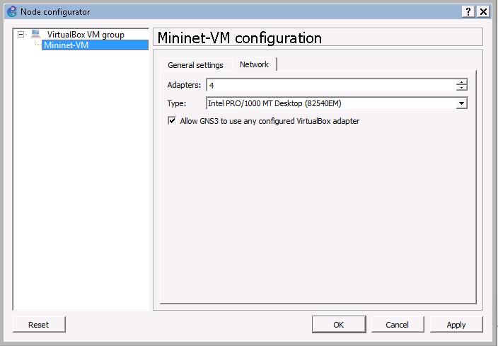 Mininet-VM-settings-mininet